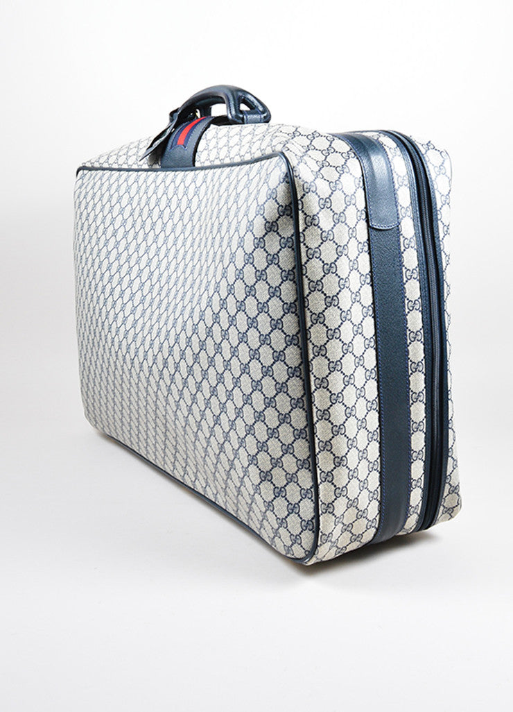 Blue, Cream, and Red Gucci Coated Canvas and Leather 'GG' Monogram Luggage Bag Sideview