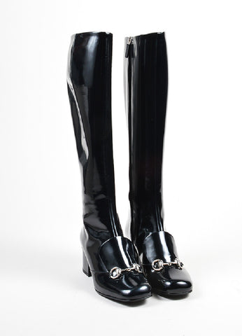 "Black Gucci Patent Leather ""Regent"" Square Toe Knee High Boots Front"