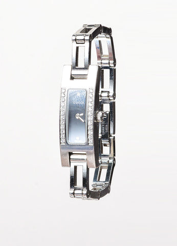 "Gucci Stainless Steel Diamond Trim ""3900L"" Chain Bracelet Watch Sideview"