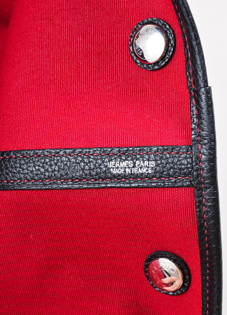 "Hermes Red and Black Canvas Negonda Leather ""Garden Party GM"" Tote Bag Brand"