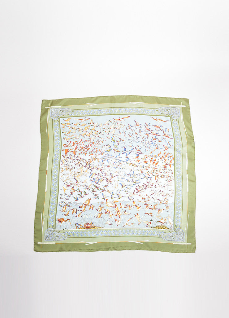 "Hermes Green and Blue Silk Twill ""Libres Comme l'Air"" Duck Print 90cm Scarf Frontview"