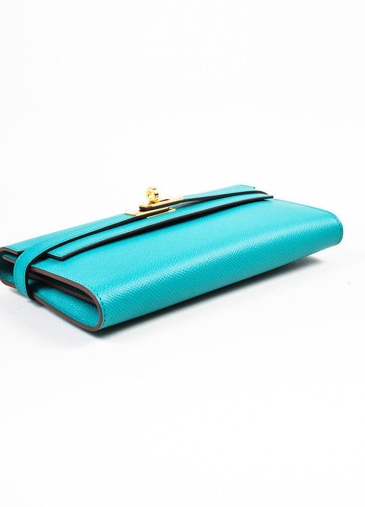 "Hermes Bleu Paon Teal Epsom Leather ""Kelly"" Long Money Holder Wallet Bottom View"