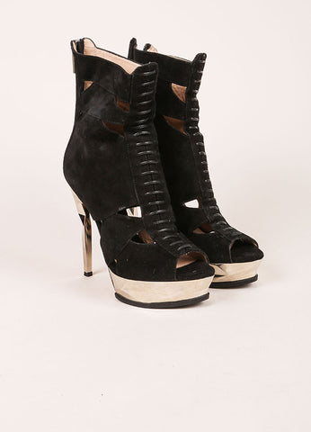 "Herve Leger Black and Silver Suede Leather Platform ""Kalina"" Ankle Boots Frontview"