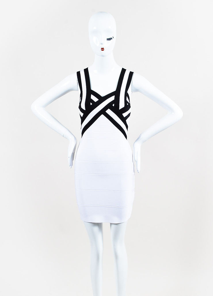 Herve Leger Black and White Striped Bodycon Bandage Dress Frontview