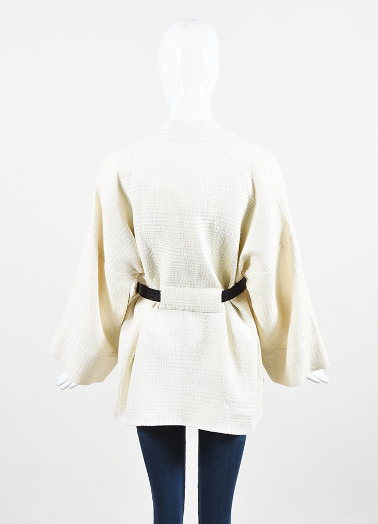 "IRO Cream Linen Blend Textured Leather Tie Belted ""Ambar"" Jacket Backview"