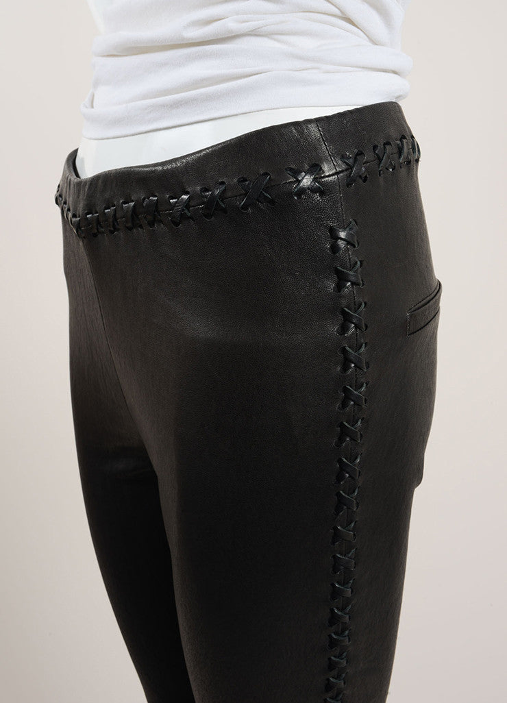"Isabel Marant Black Lamb Leather Whipstitch ""Dayton"" Pants Detail"