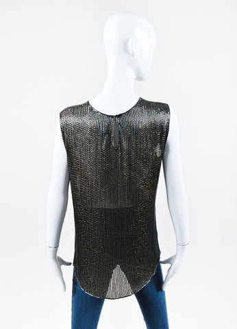 Dark Grey and Gold Jason Wu Silk Beaded Sequin Embellished Sleeveless Top Backview