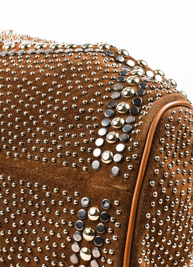 "Brown Jimmy Choo Suede Silver Tone Studded ""Ramona"" Hobo Bag Detail 2"