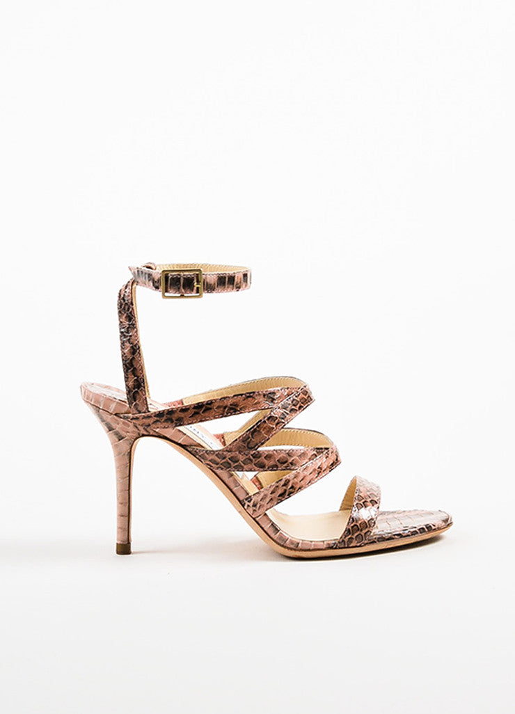 Jimmy Choo Pink and Black Snakeskin Open Toe Strappy Heeled Sandals Sideview