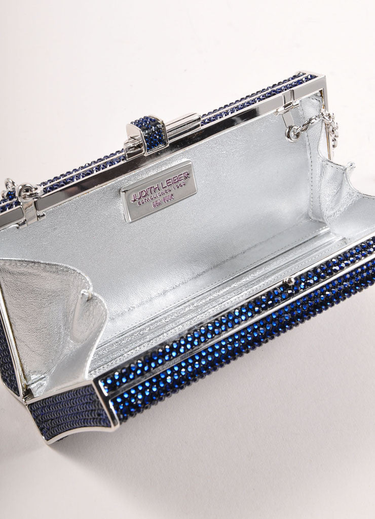 Judith Leiber Navy and Silver Rhinestone Small Rectangular Minaudiere Clutch Bag Interior