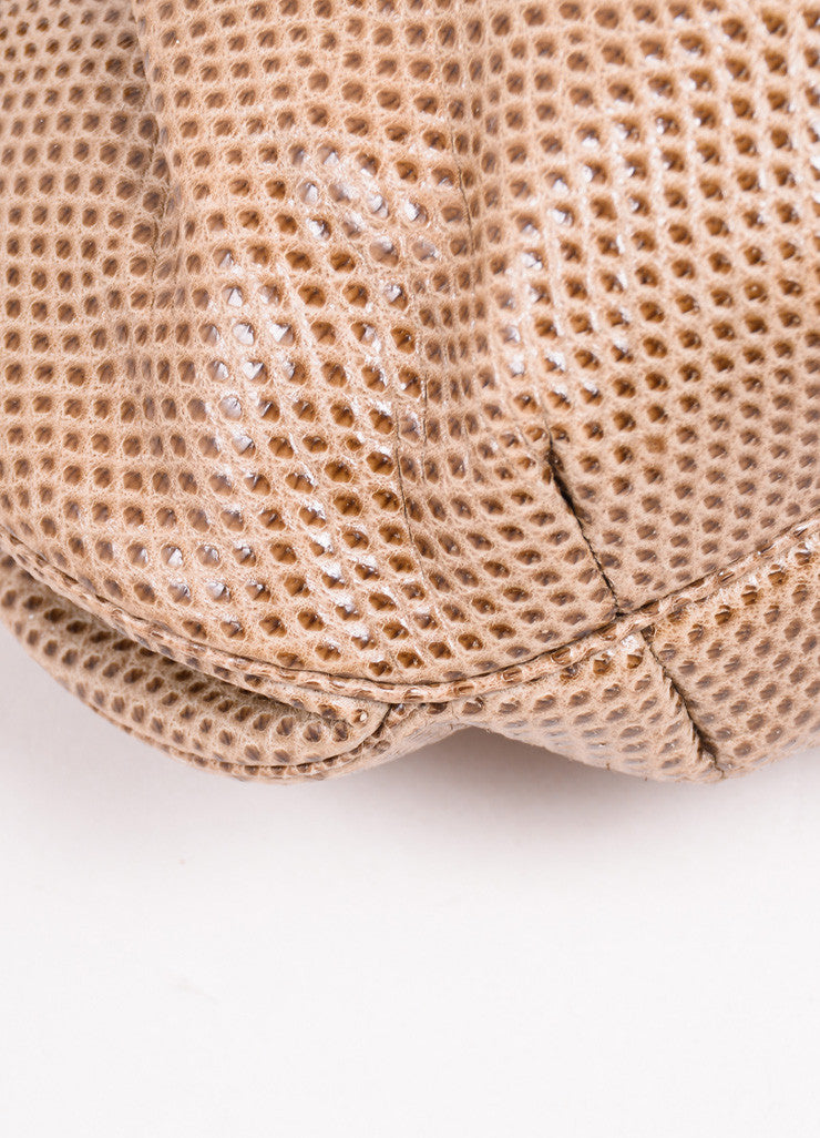 Judith Leiber Tan and Brown Embossed Snakeskin Leather Pouch Clutch Bag Detail