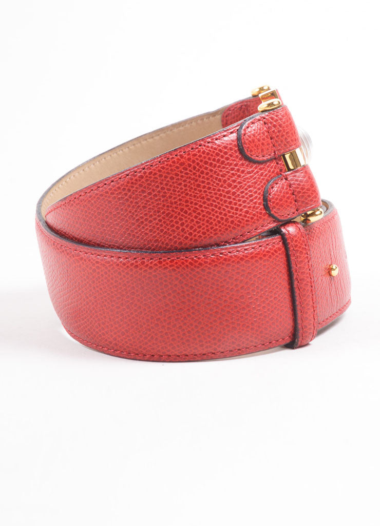 Lalique Red Grain Leather Gold Toned Embellished Belt  Sideview