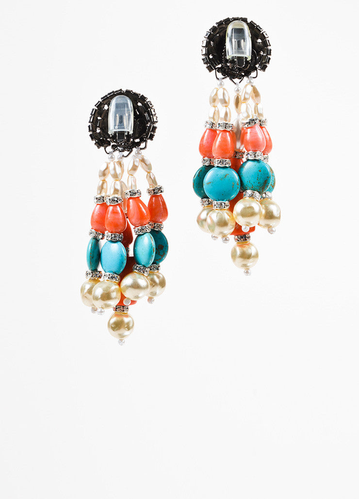 Lawrence Vrba Turquoise Coral Faux Pearl Crystal Beaded Drop Clip On Earrings Backview