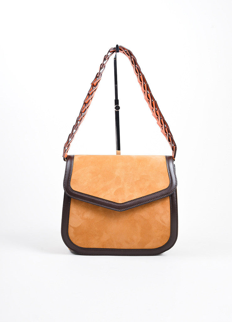 "Tan, Brown, and Orange Loewe Suede Leather Flap Cut Out ""V"" Shoulder Bag Frontview"