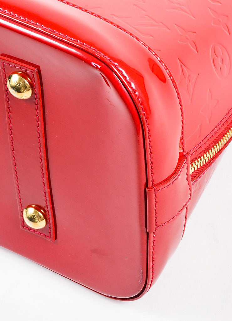 "Louis Vuitton ""Pomme"" Red ""Vernis"" Leather Monogram ""Alma GM"" Satchel Bag Detail 2"