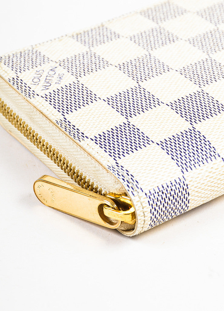 "Louis Vuitton Cream and Navy ""Damier Azur"" Printed Coated Canvas ""Zippy"" Wallet Detail"