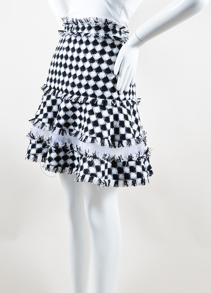 MSGM Black and White Cotton Tweed Sheer Panel Flared Mini Skirt Sideview