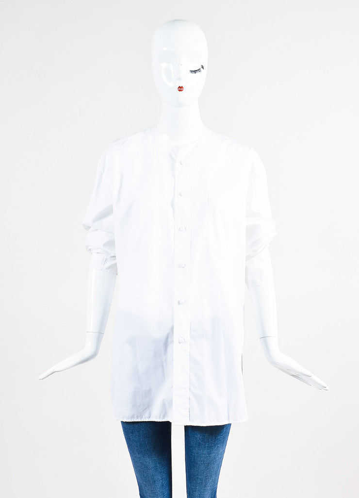 Maison Martin Margiela White Buttoned Shirt with Removable Collar and Cuffs Frontview