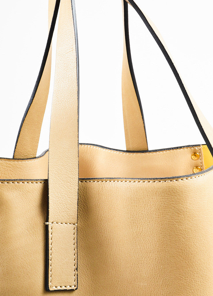 Marni Tan and Yellow Leather Studded Accent Bicolor Color Block Shoulder Tote Bag Detail 2