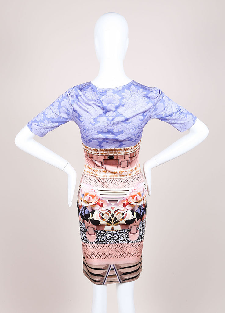 "Mary Katrantzou New With Tags Pink and Blue Silk Jersey Photo Print ""Powdy"" Dress Backview"