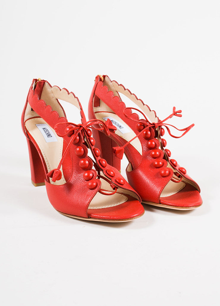 Moschino Red Leather Lace Up Chunky Heel Sandals Front