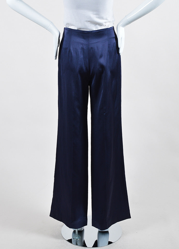 Navy Blue Nina Ricci Silk High Waist Wide Leg Trousers Backview