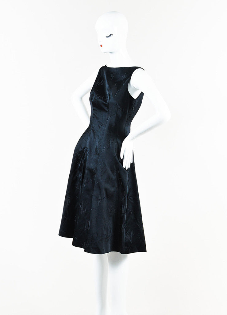 Prada Black Silk Floral Brocade Pleated A-Line Dress angle