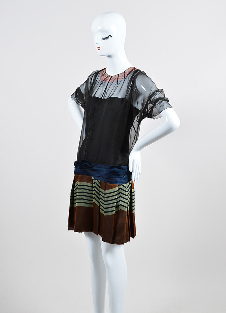 Multicolor Prada Silk Striped Pleated Sheer Dress With Slip Sideview