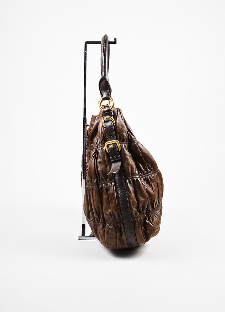 "Prada Brown Distressed Nappa ""Gaufre"" Leather ""Sacca"" Hobo Shoulder Bag Sideview"