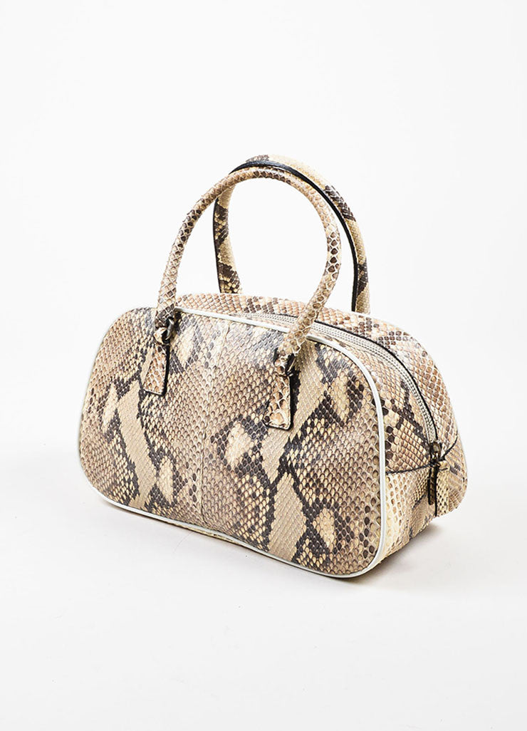 Prada Cream and Grey Python Leather Mini Bowler Satchel Bag Sideview