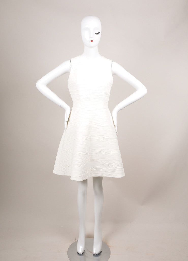 Proenza Schouler Cream Textured Crepe Sleeveless Flared Dress Frontview