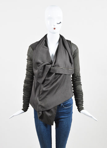 Rick Owens Green Silk Extra Long Sleeve Zipped Jacket Frontview 2