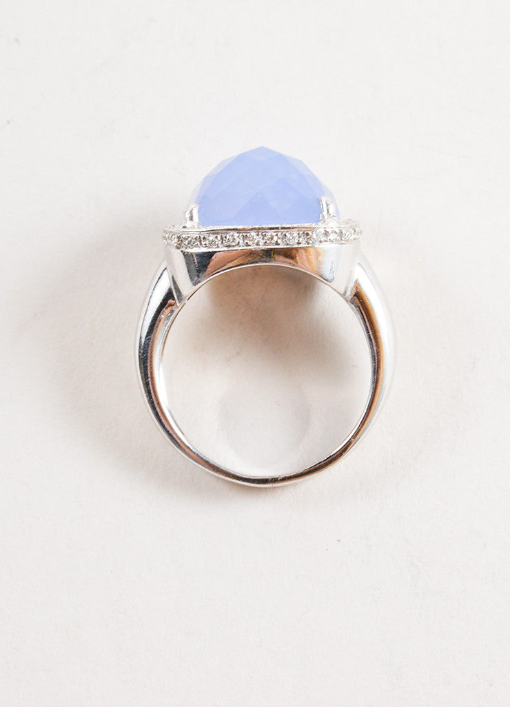 Rina Limor 18K White Gold and Blue Chalcedony Crystal Diamond Cocktail Ring Topview