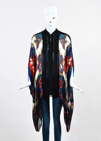 Multicolor Roberto Cavalli Silk Abstract Printed Sheer Caftan Tunic Frontview