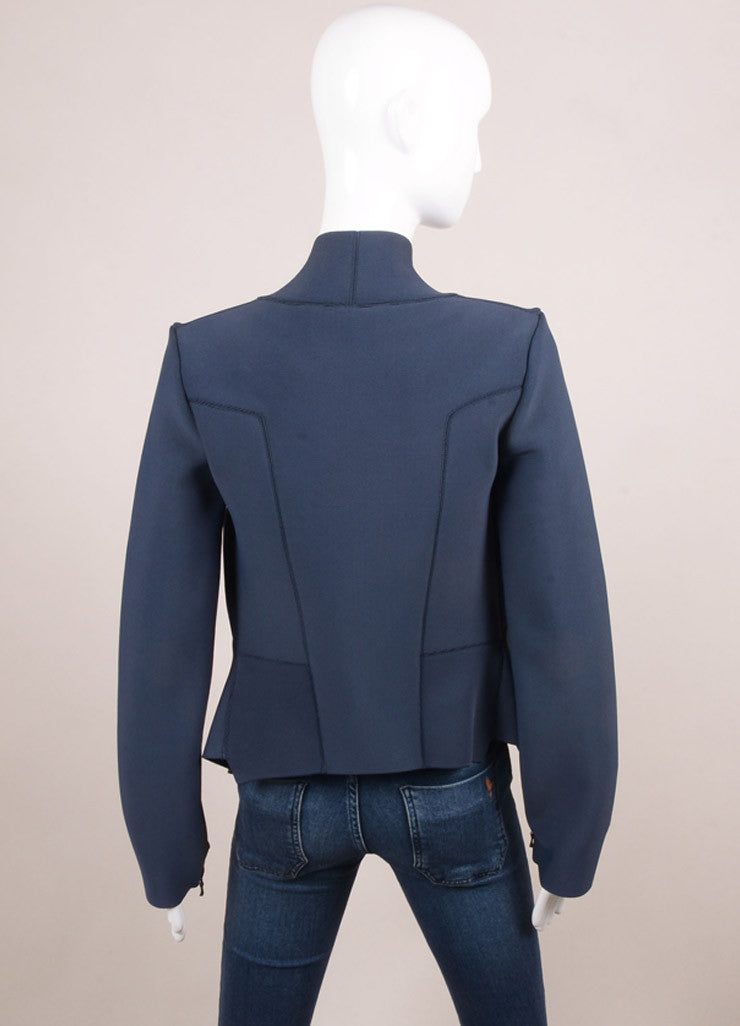 Roland Mouret New With Tags Blue and Grey Spandex Knit Fitted Zip Jacket Backview