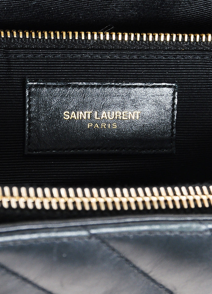 "Saint Laurent Black Matelasse Quilted Leather ""Classic Monogram"" Shopping Bag Brand"