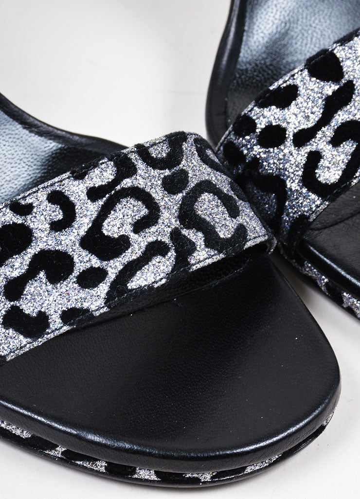 "Silver Glitter and Black Leopard Saint Laurent ""Jane"" Sandal Heels Detail"