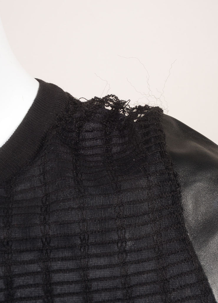Salvatore Ferragamo Black Leather Netted Panel Short Sleeve Dress Detail