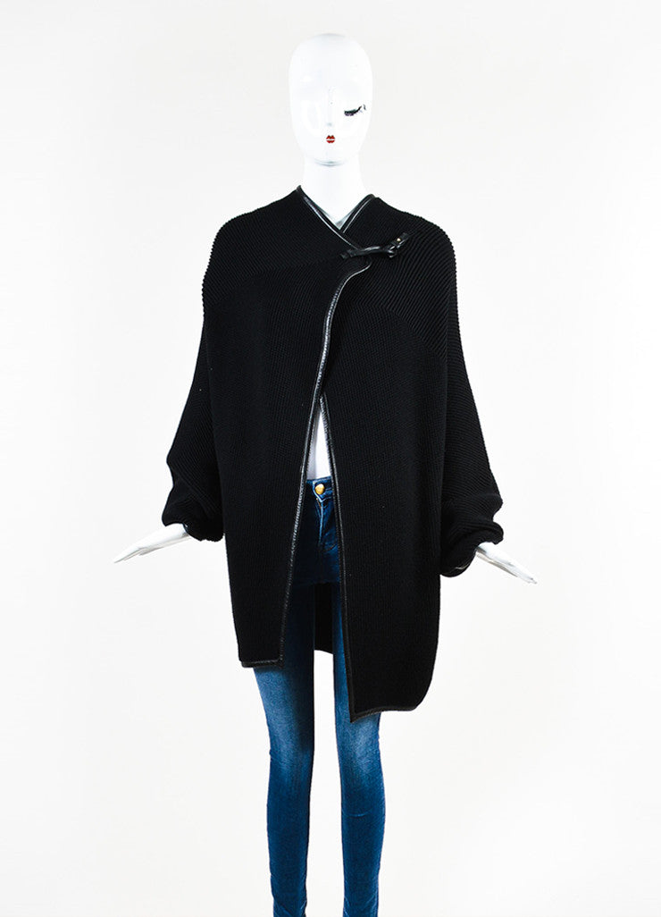 Salvatore Ferragamo Black Wool Leather Trimmed Oversized Sweater Frontview 2