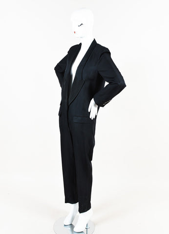 Stella McCartney Black Silk Tuxedo Style Long Sleeve Straight Leg Jumpsuit Sideview