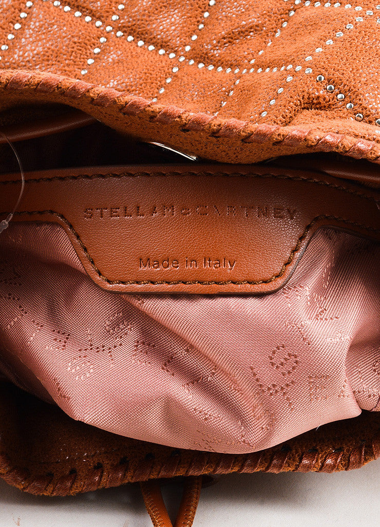 Stella McCartney Cognac Vegan Leather Studded Quilted Mini Bucket Bag Brand