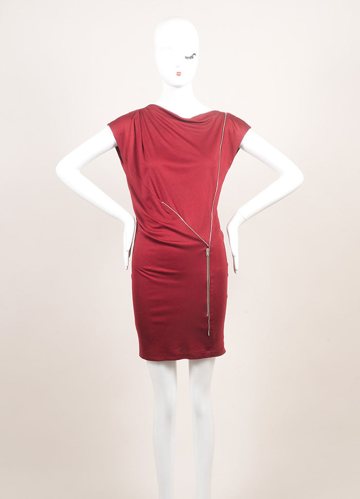Stella McCartney New With Tags Burgundy Jersey Knit Sleeveless Dress Frontview