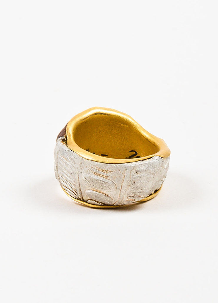 22K Yellow Gold Susanne Dunne Mokume-Gane Diamond Wide Ring Backview