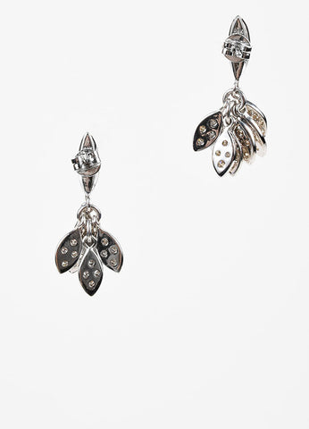 Sydney Evan 14K White Gold and Pave Diamond Cluster Small Leaf Drop Earrings Backview