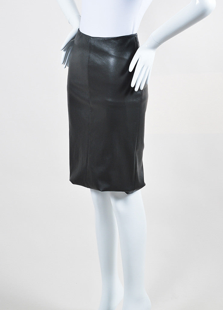 "The Row Charcoal Grey Stretch Leather ""Fistian"" Pencil Skirt Sideview"