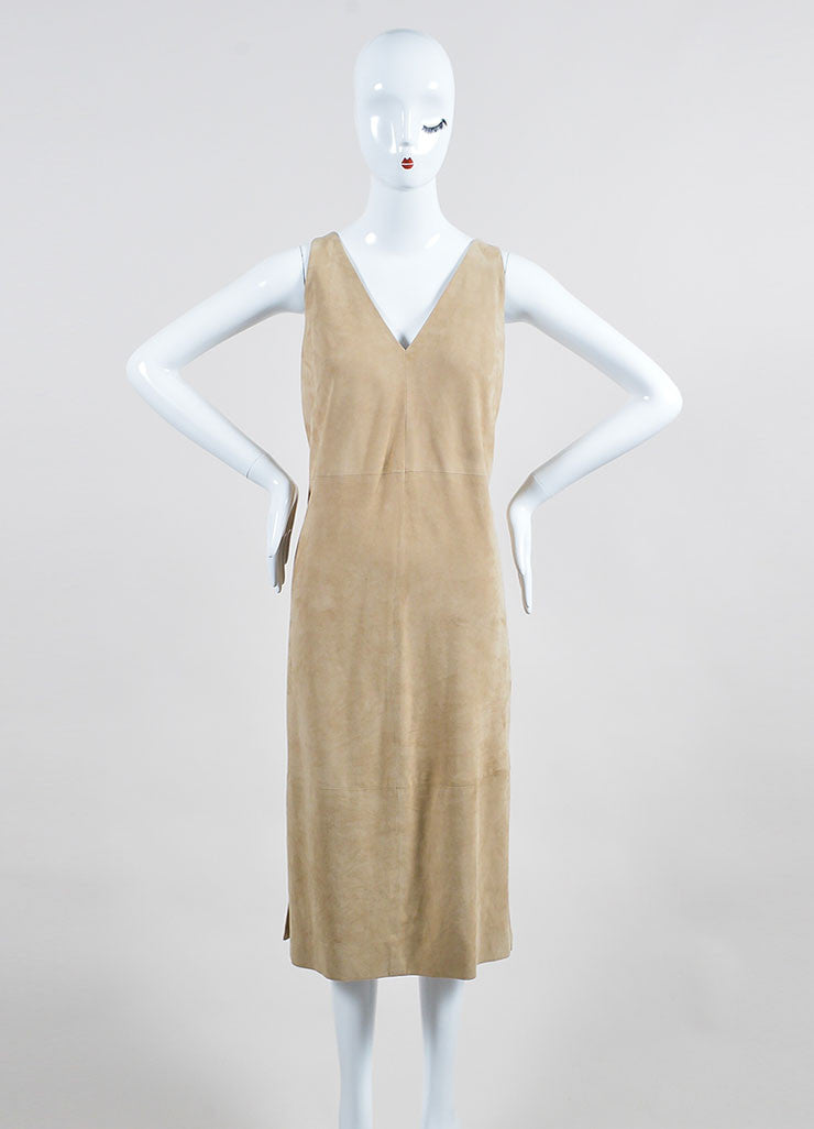 "The Row Beige Suede V-Neck ""Rahool"" Sleeveless Shift Dress Frontview"