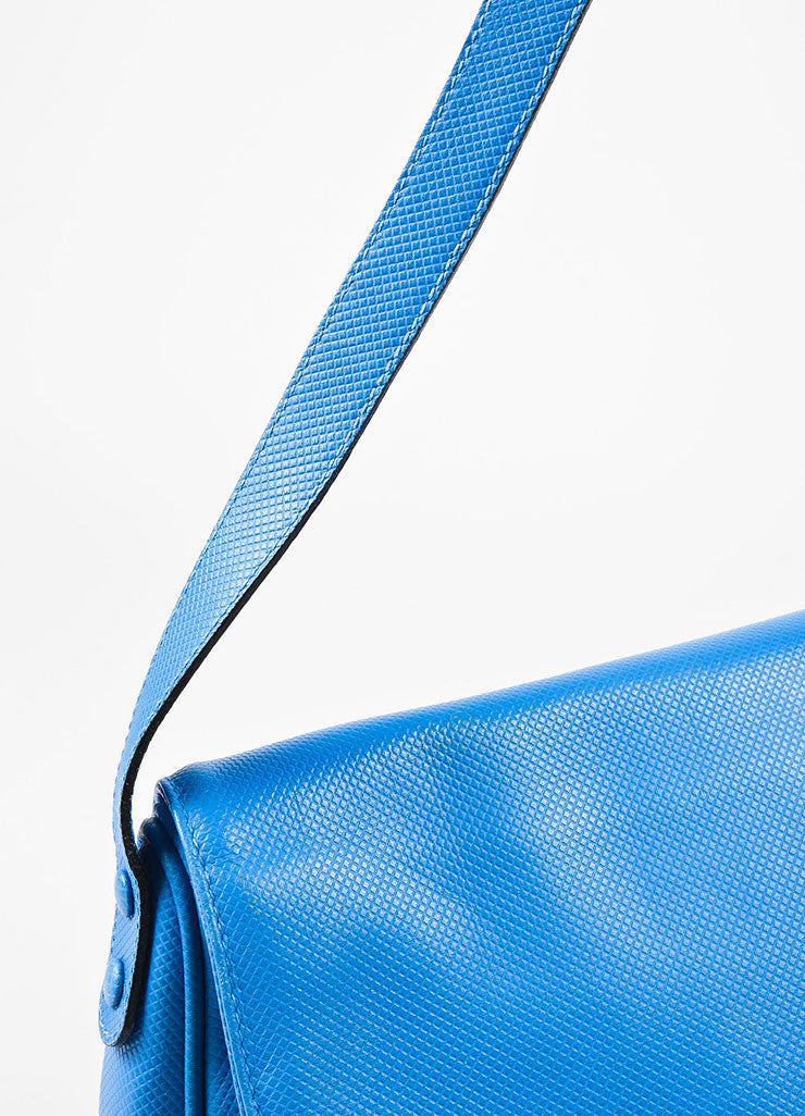 Bottega Veneta Light Blue Textured Leather Crossbody Flap Bag Detail 2