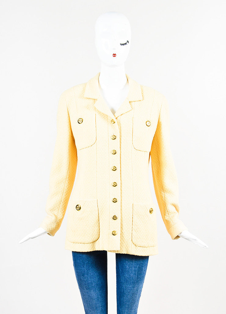 Chanel Yellow and Gold Toned Boucle 'CC' Button Long Jacket Frontview 2