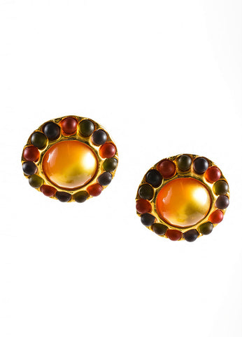 Gold Toned, Red, and Green Chanel Bubble Oversized Circle Earrings Frontview