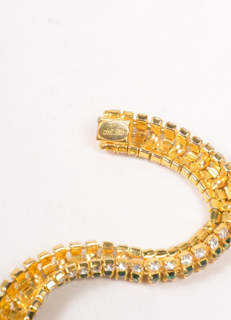 DeLillo Gold Toned and Green Rhinestone Bracelet Brand